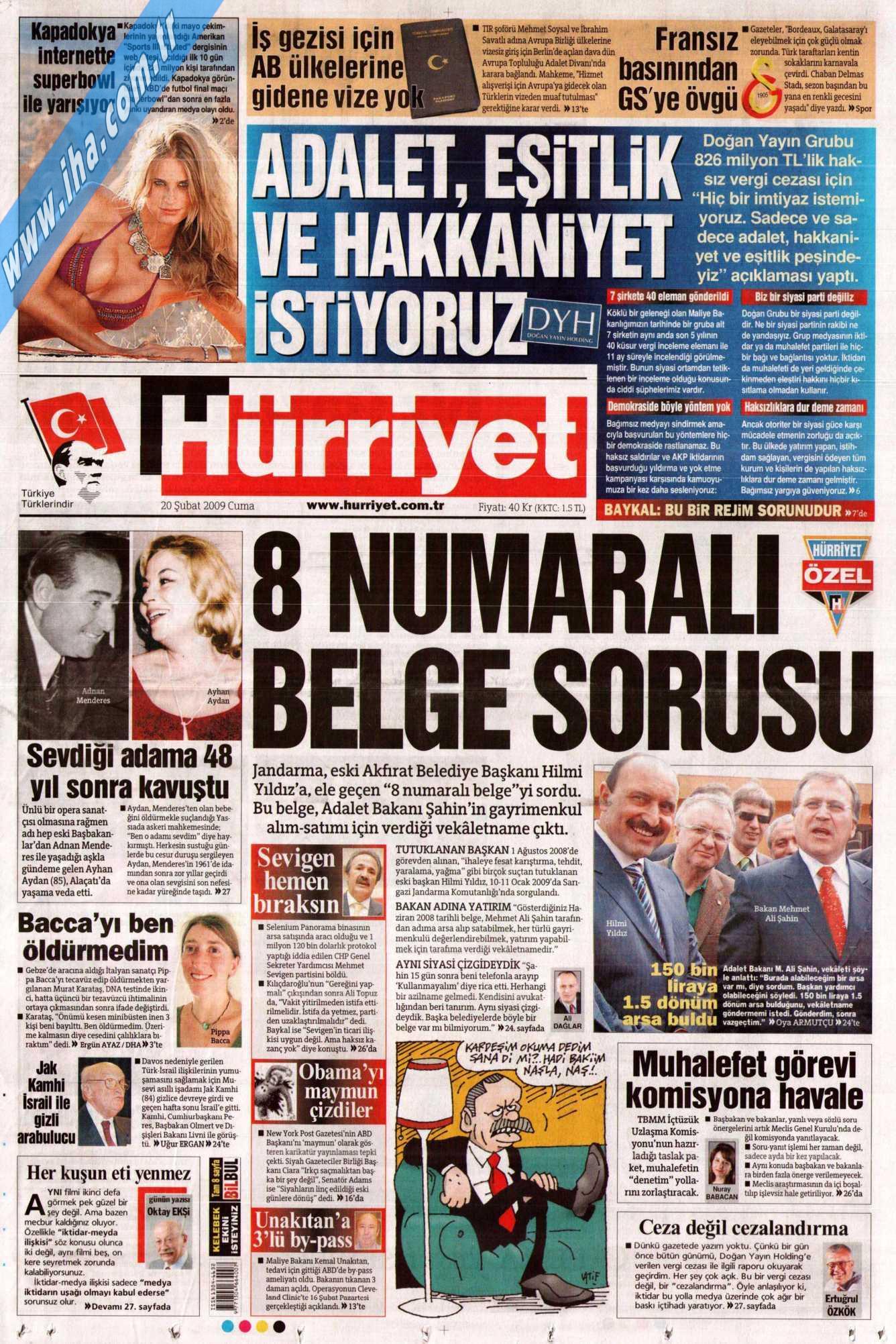 20 Ubat 2009 Cuma Trkiye Gazetesi Sabah Hrriyet